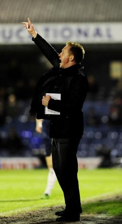 Gary Waddock issues instructions at Southend
