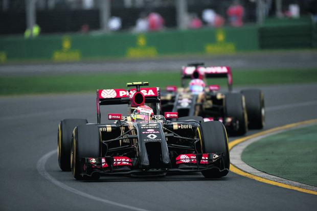 Lotus driver Pastor Maldonado leads teammate Romain Grosjean during the Australian Grand Prix, before they were both forced to retire with mechanical problems. They will be hoping for better luck at the Malaysian Grand Prix