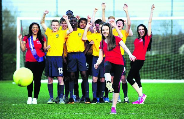 Miss Oxfordshire contestant Hannah Everett, 17, is cheered on in the penalty shootout