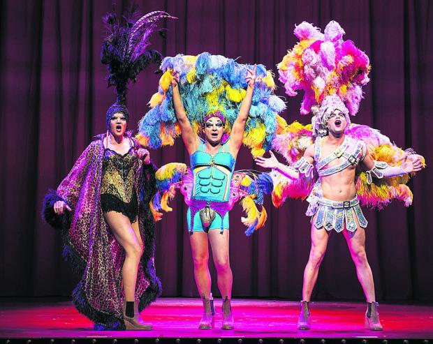 Richard Grieve as Bernadette, Jason Donovan as Tick and Graham Weaver as Felicia in Priscilla, Queen of the Desert