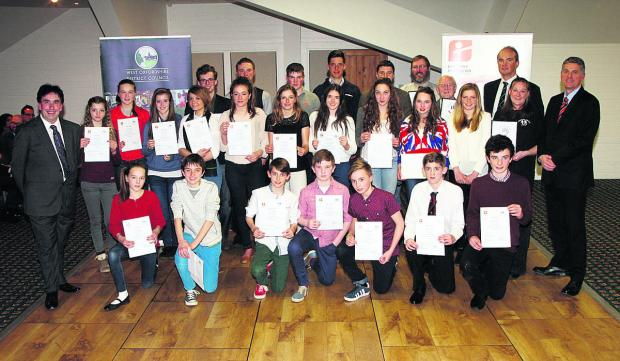 The West Oxfordshire Sports Award winners show off their certificates following the annual presentation night at the Witney Lakes resort