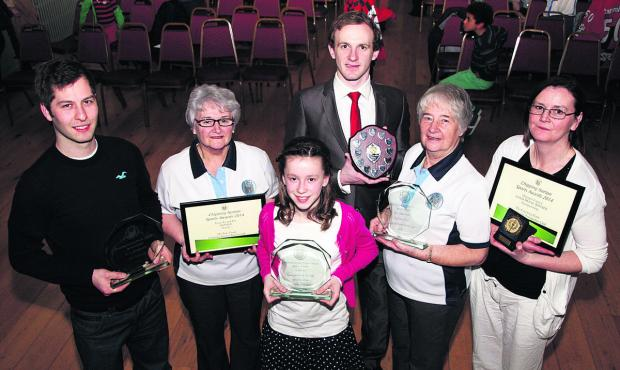 Some of the winners at the Chipping Norton awards (from left): Dave Edwards (18 & over sportsperson of the year), Roberta Javie (Chipping Norton Bowls Club), Matilda Donaghy (Under 11 sportsperson), Carole Thornhill (Chipping Norton Bowls Club),