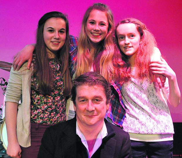 Revival, from left, Hannah Mitchell, Katie Ware and Emma Pascoe, with Cornbury Festival director Hugh Phillimore