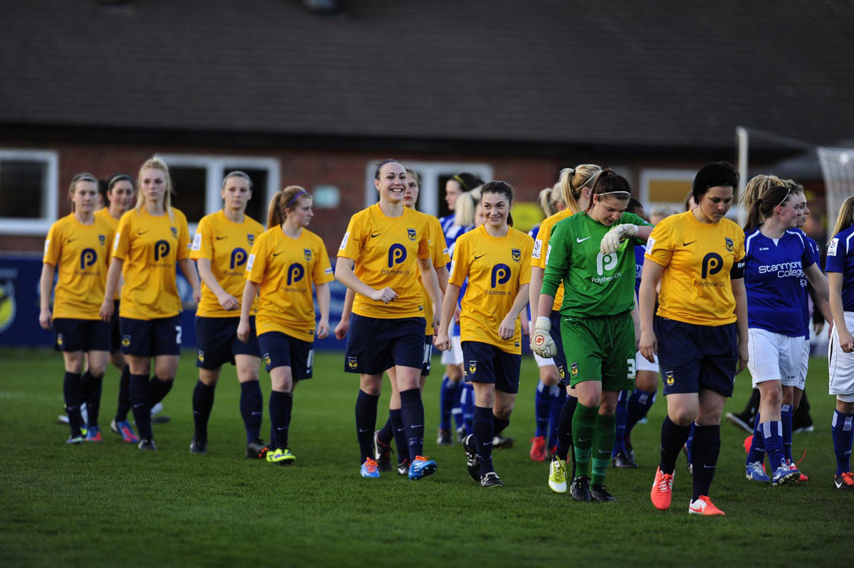 Oxford United walk out for the first time to play in the Women's Super League