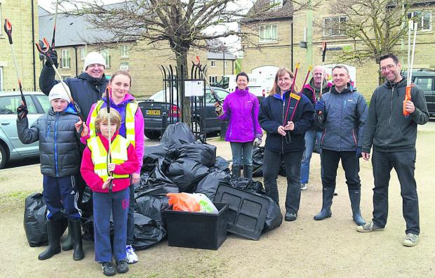 Members of the tidy-up team, Becky, Joseph and Sophie Raven, Nicky and Ian Mellings, Benjamin and Ralph Anker, Adie Gargan, and Chris Holliday