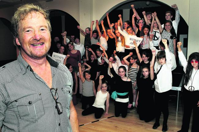 Robin Martin-Oliver with some of the members of his Stagecoach theatre school at the Langdale Hall in Witney