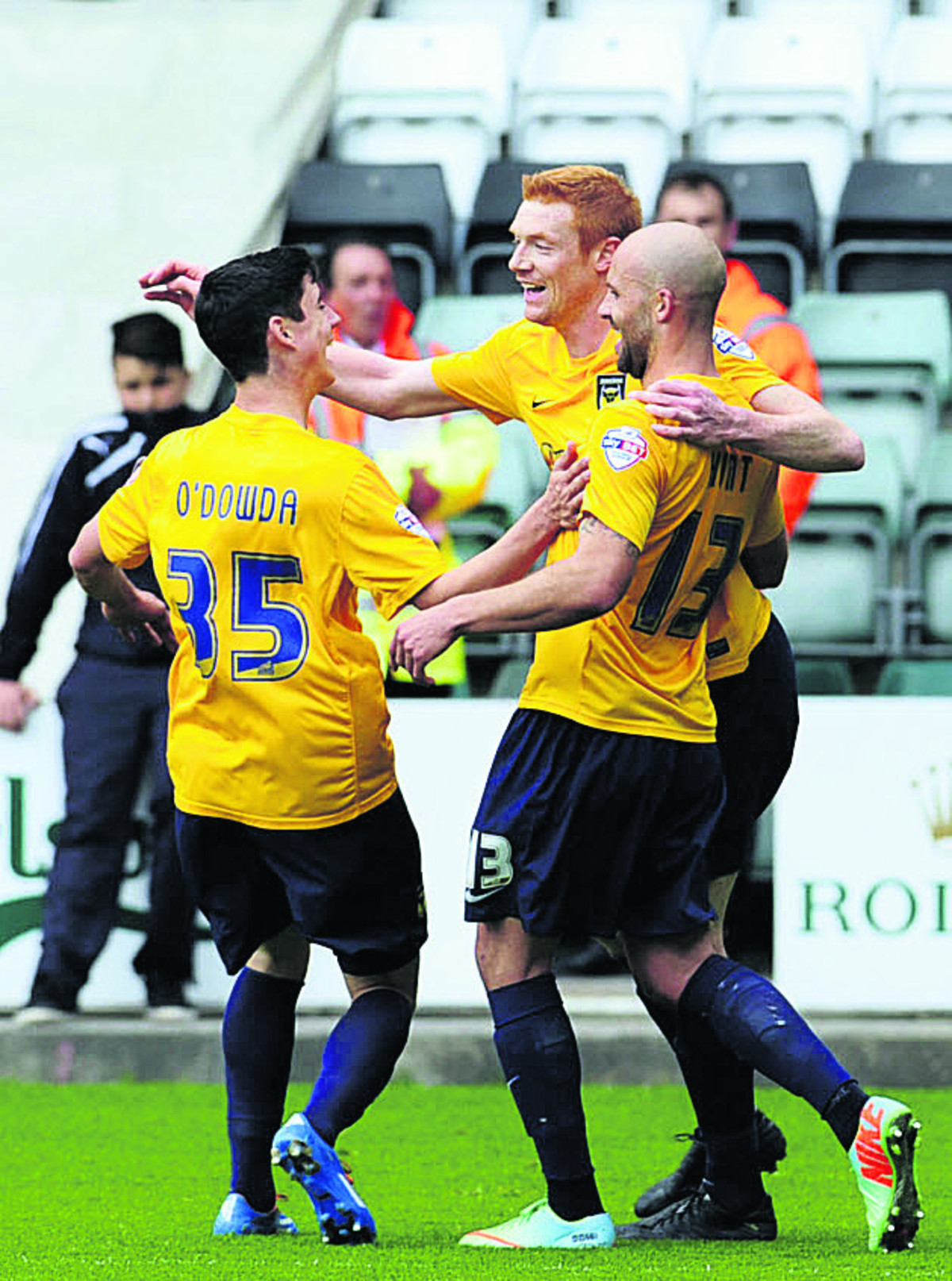 Dave Kitson (centre) celebrates his goal at Plymouth with Callum O'Dowda and David Hunt Picture: David Fleming
