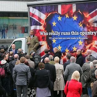 Witney Gazette: Ukip leader Nigel Farage launches his party's European election billboard campaign in Sheffield.
