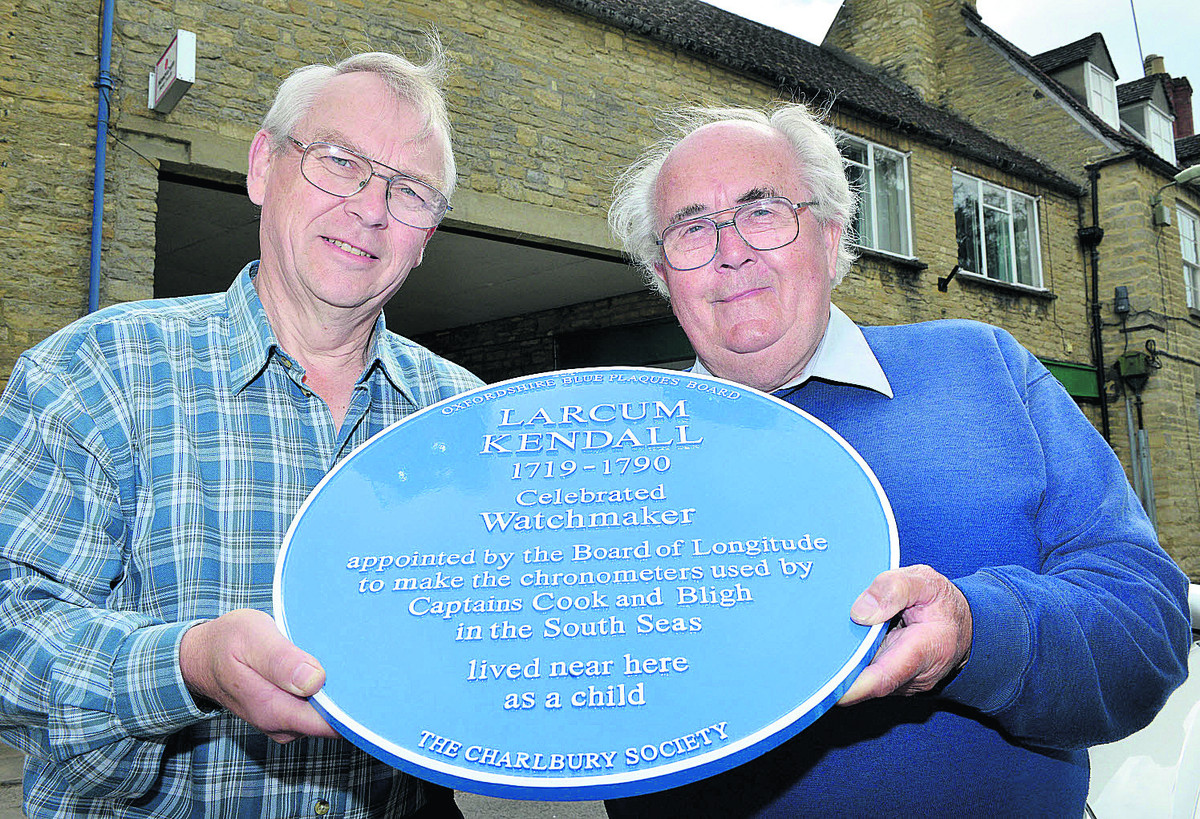 Simon Walker, left, Charlbury Society chairman, with Ron Prew, who will be unveiling the plaque on May 3. Picture: OX66726 Simon Williams