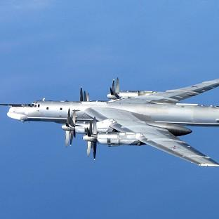 A Russian Tu-95 Bear H photographed by an RAF Typhoon from 6 Squadron at RAF Leuchars in Sc