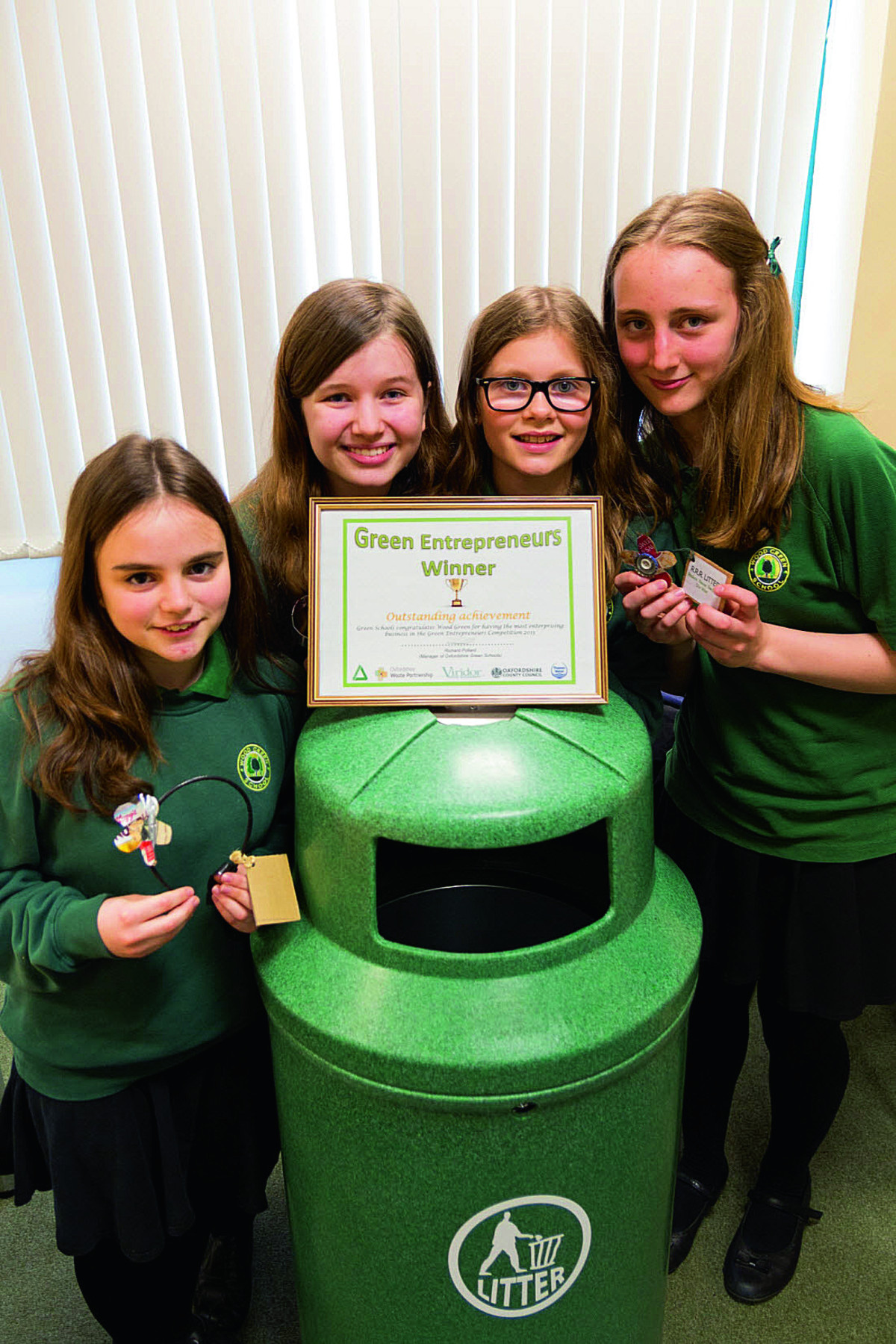 Entrepreneurial Pupils – from left, Freya Green, Samatha Hicks, Jessica Showan and Sophie Raven, all aged 13 – solved their W