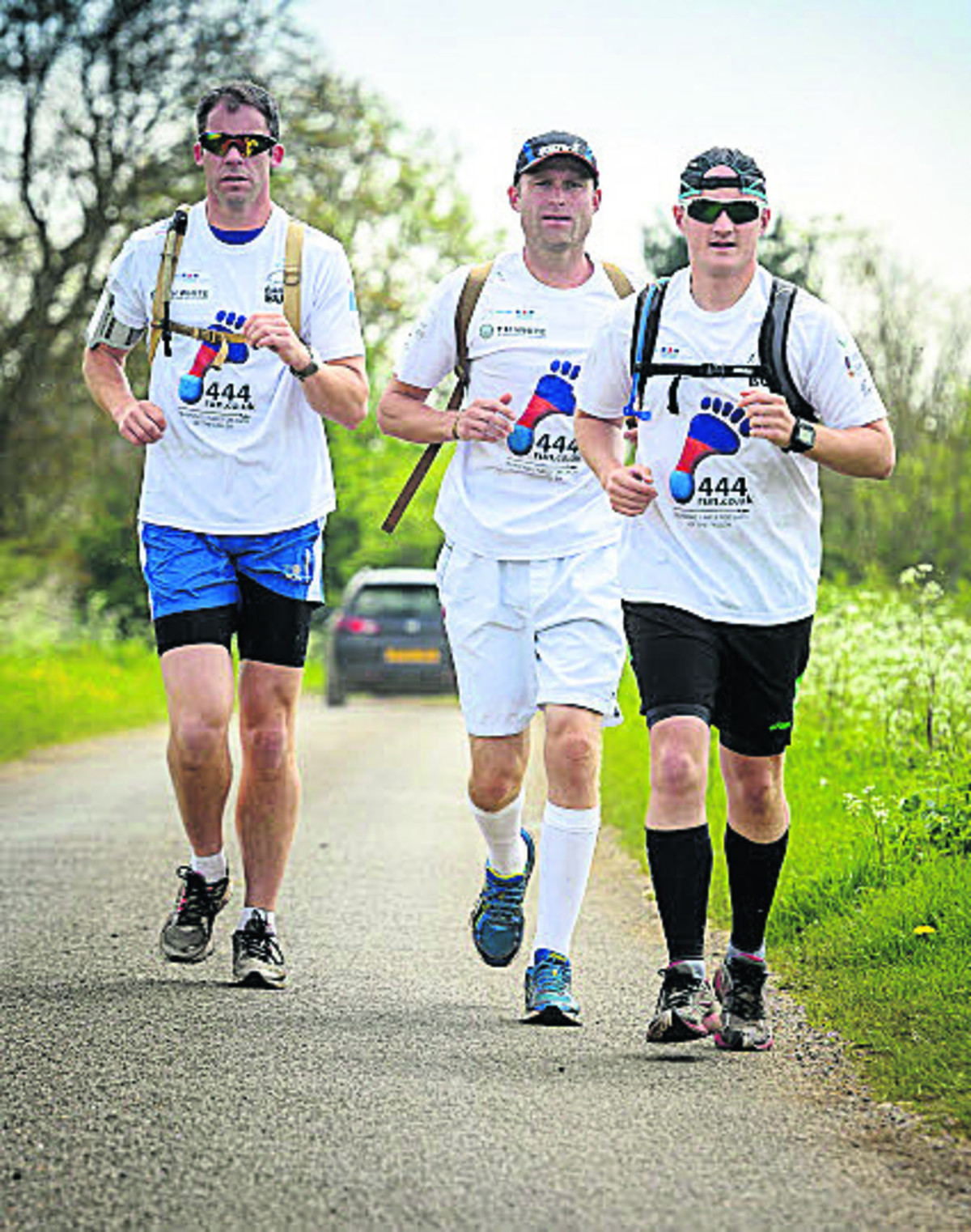 The runners on their run-in to RAF Brize Norton after 17 days of running