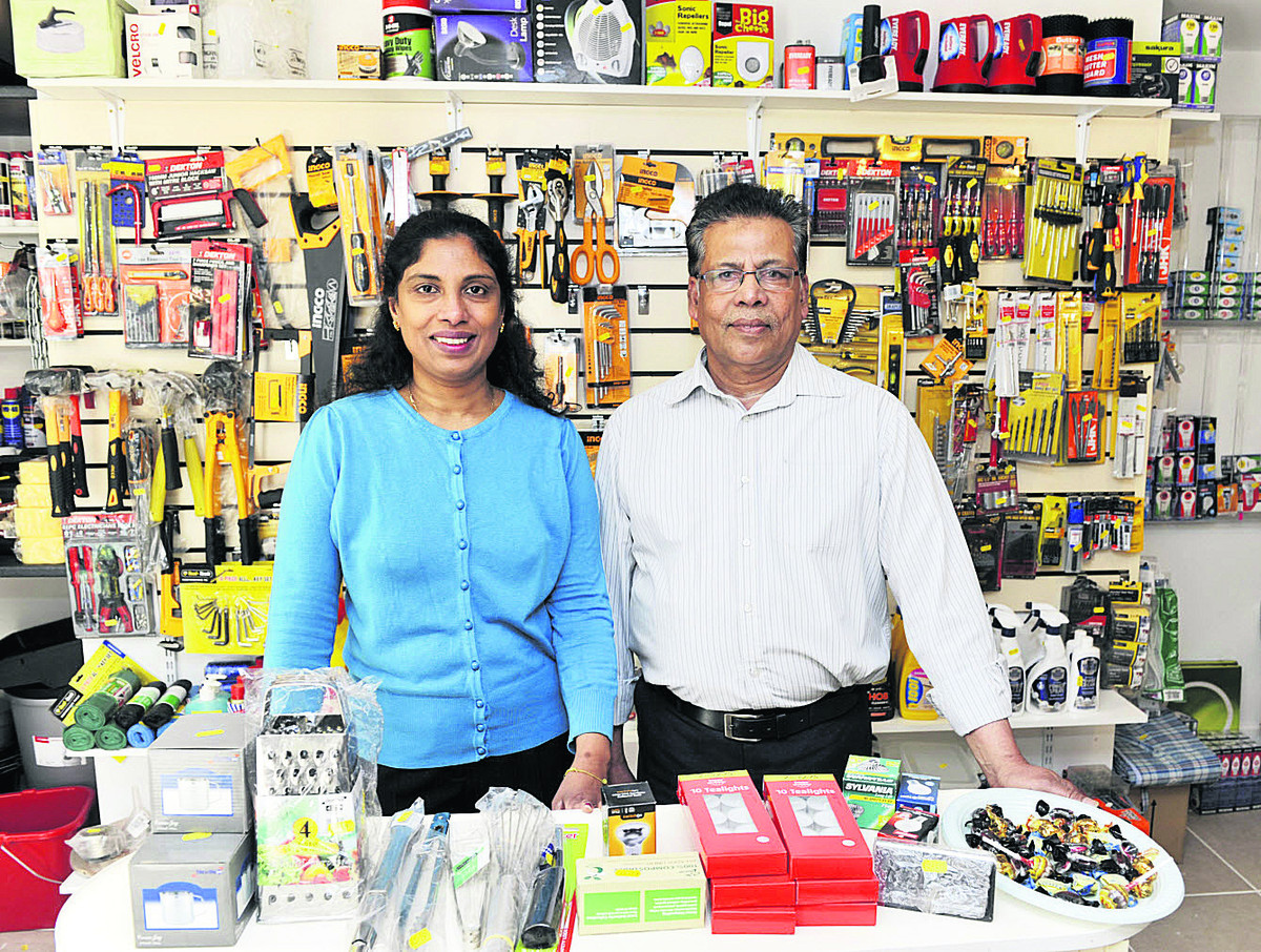 Subodhini, left, and Chanthirakumar Seenithamby in their hardware store