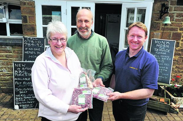Catherine and Graham Vint, of Hornton Grounds farm, and business partner Simon Thomas