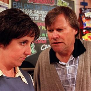 Julie Hesmondhalgh and David Neilson playing H
