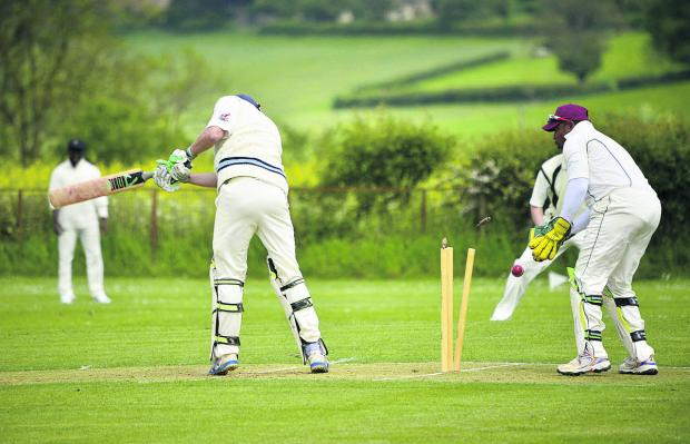 Chadlington's Mark Lambert is comprehensively bowled by Tal Ukder