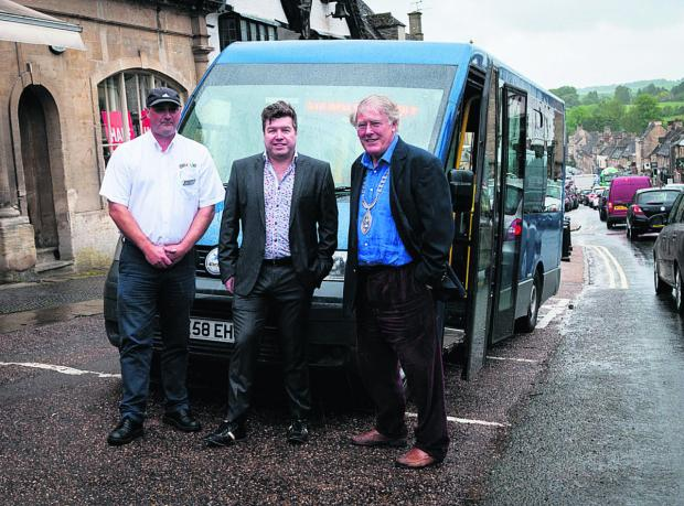 From left, Go Ride driver Julien Evans, director Danny Douglas and Burford's mayor John White are looking forward to the launch of route X10 on Monday