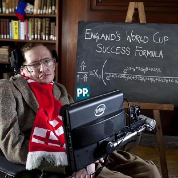Witney Gazette: Professor Stephen Hawking unveils a new scientific formula to predict the chances of England succeeding in the World Cup, in Cambridge.