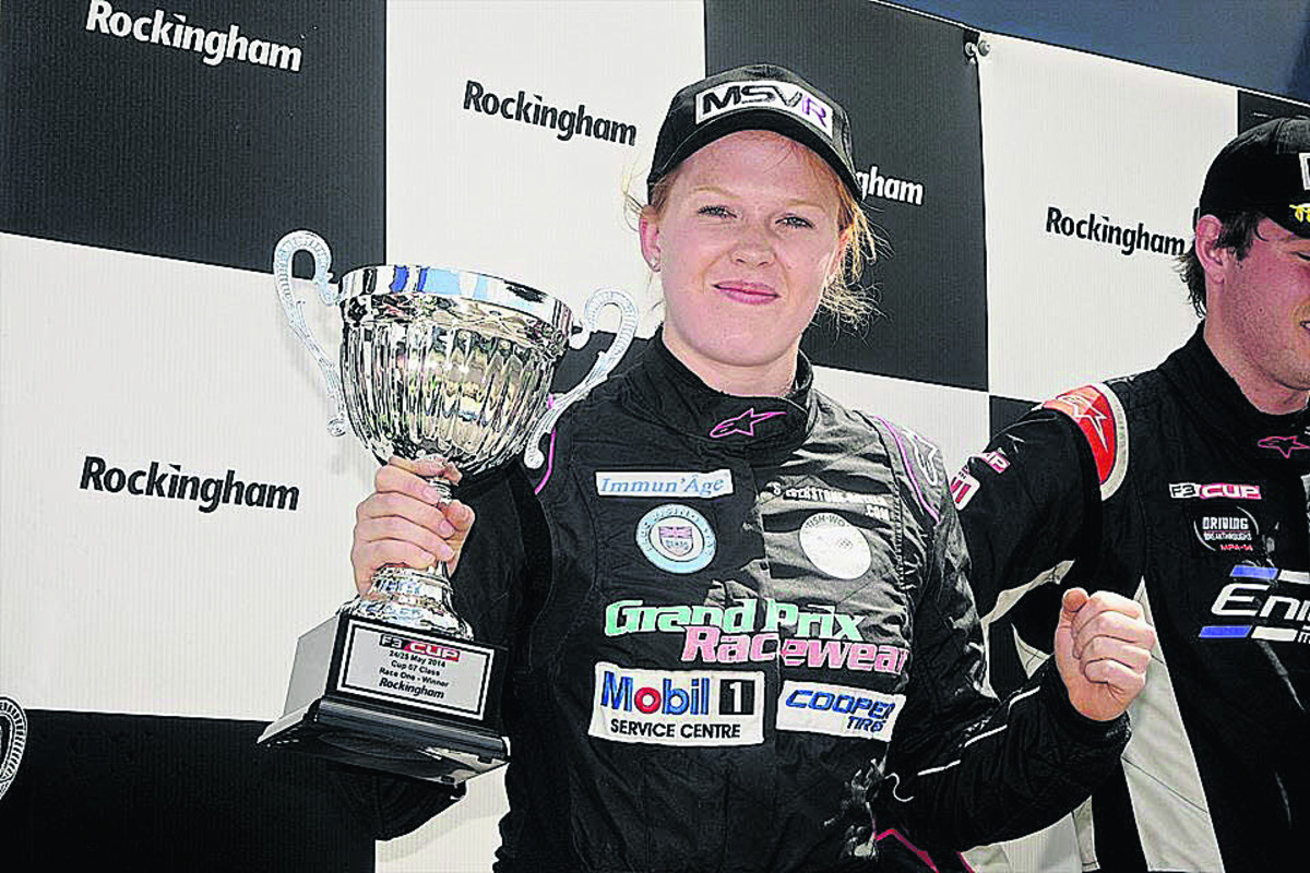 Chipping Norton's Alice Powell shows her delight after one of her two wins in the F3 Cup at Rockingham on Sunday