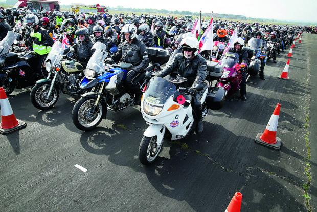 Witney Gazette: Bikers form up on the runway at Dalton Barracks                                        Pictures: OX67468 Damian Halliwell