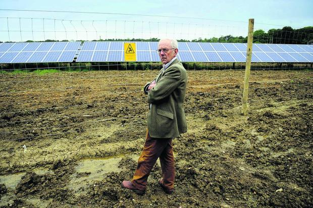 Michael Tyce, from the CPRE, visits the solar farm near Barnard Gate, West Oxfordshire