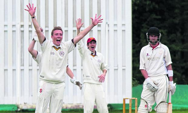 Elliot Graham, who captured 5-36, appeals for the wicket of Alex Kill (right) during their 22-run home defeat by Shrivenham in the first round of the Airey Cup