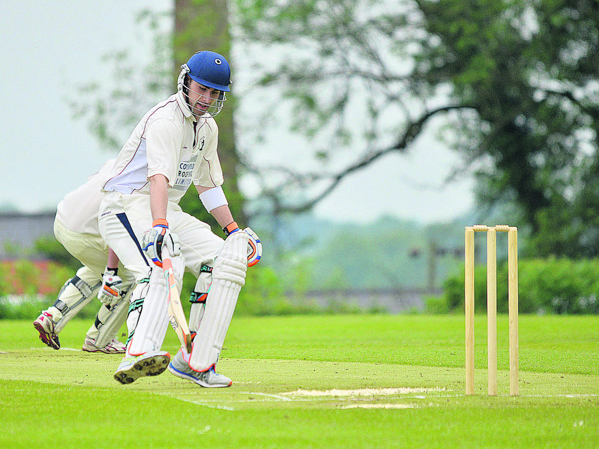 Great & Little Tew's Joe White turns quickly looking for a second run in their 55-run home win against Horspath on Saturday