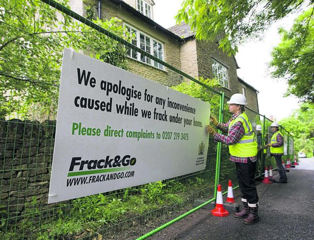 The fracking demo by Greenpeace at David Cameron's house in Dean     Picture: Antony Moore