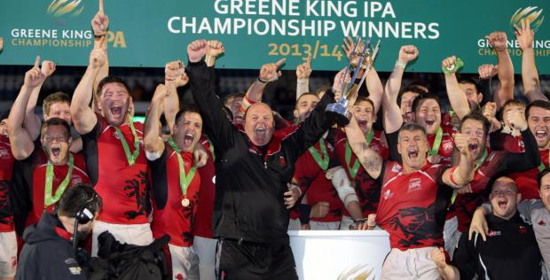 We're back! London Welsh and coach Justin Burnell celebrate