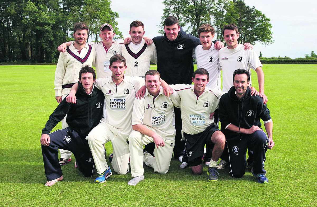 Great & Little Tew's players celebrate winning the Oxfordshire final against Cumnor by nine-wickets t