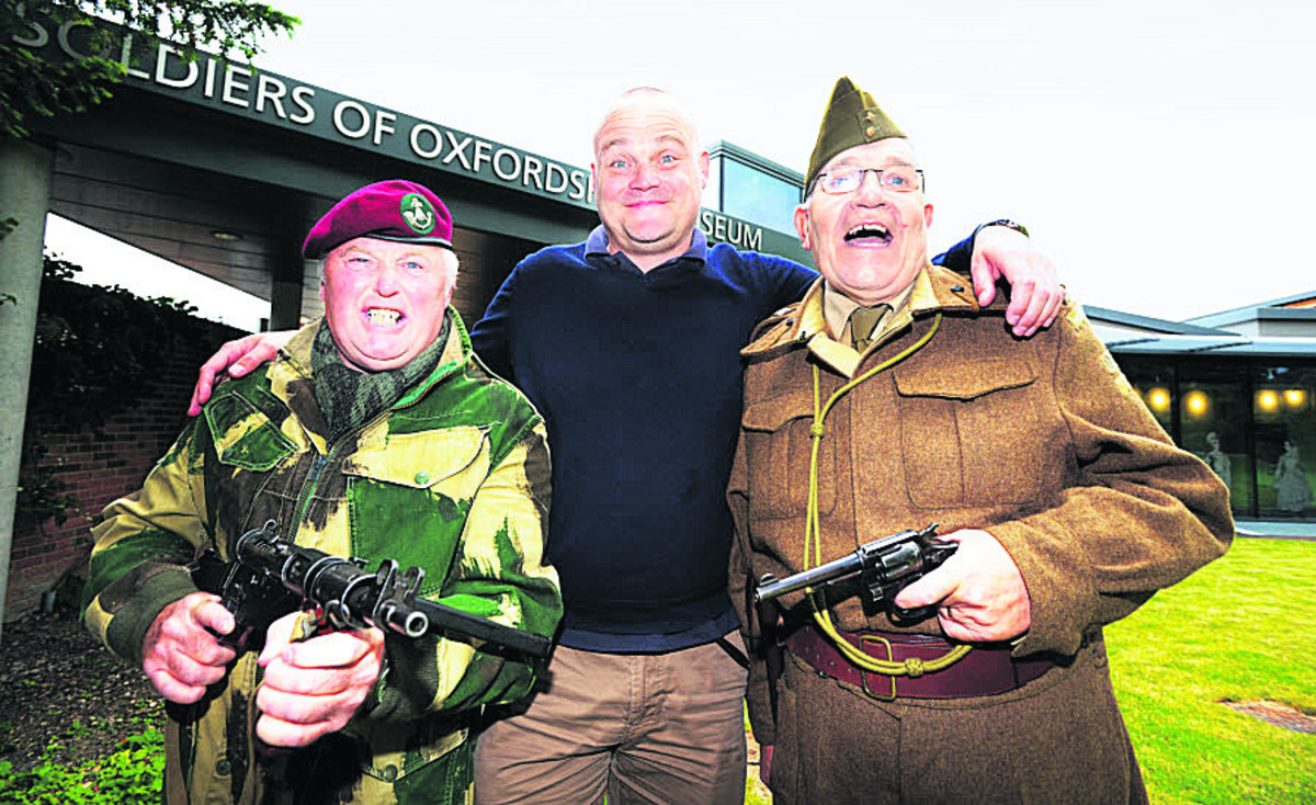 Al Murray, centre, with David Bayliss, left, dressed as a member of the glider-borne 2nd Bn Ox and Bucks Light Infantry and Brian Tegg as a Captain in the 2nd Bn Oxfordshire Home Guard