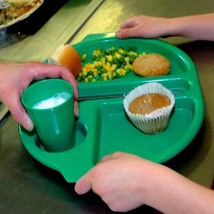 A school dinner being served.
