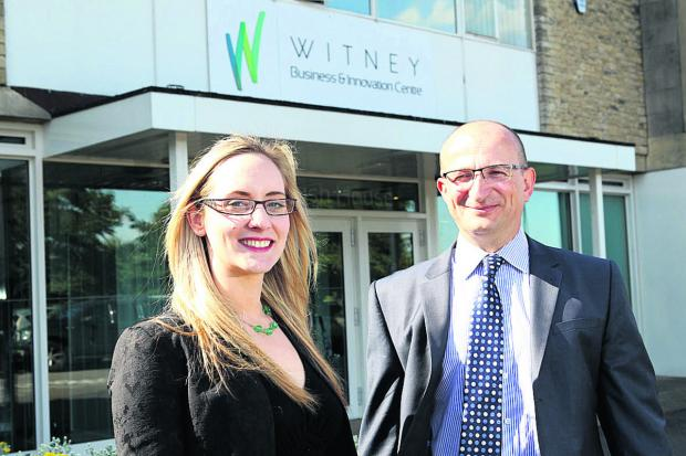Witney Gazette: DEAL: Stephanie Henwood, manager of Witney Business and Innovation Centre, and Roger File, property director at Blenheim Palace