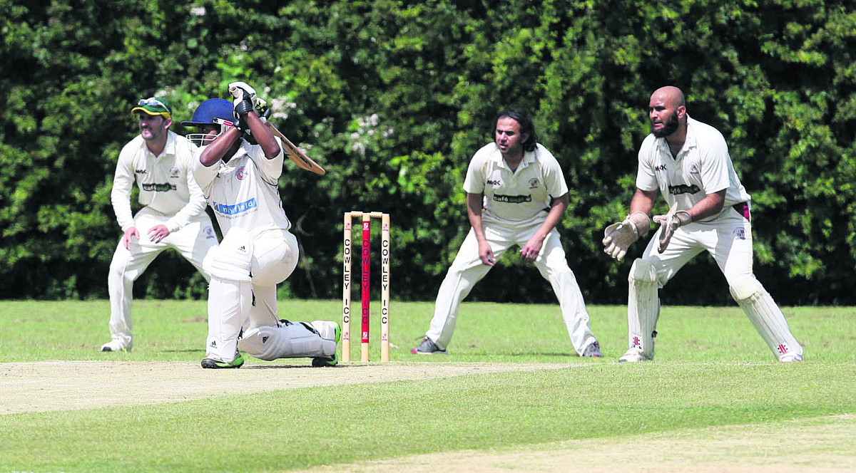 Charlbury's Bimalka Liyanarachchi hammers a four during their seven-wicket defeat at Cowley Internationals