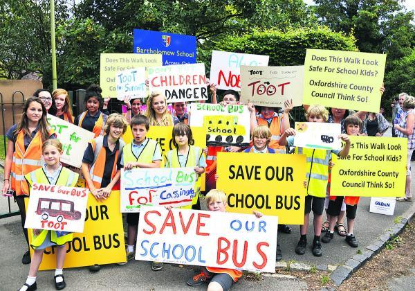 Parents and pupils staged a protest walk from Bartholomew School along the A40 back to Cassington     Picture: OX68398 Mark Hemsworth