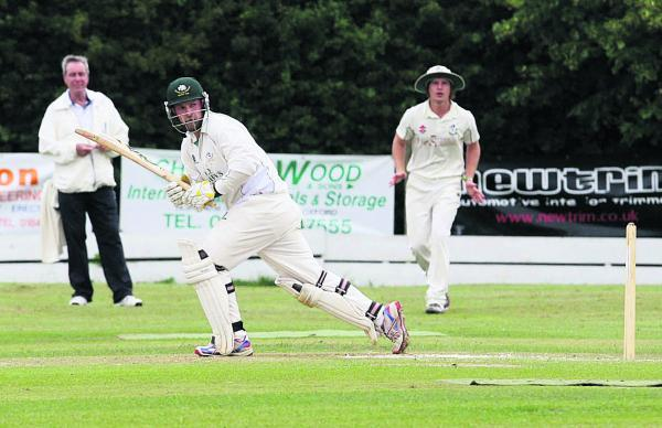 Shipton-under-Wychwood's Shaun Cross hits a four off his legs during their 69-run at home to Horspath in Division 2 on Saturday