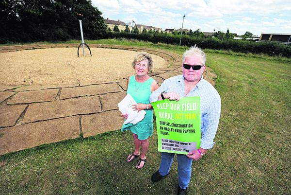 Barbara Hitchcox and Mike Routledge, who are protesting about a 'teen zone' being built near their homes