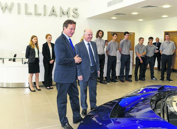 David Cameron is shown around the Williams facility by the team's Advanced Engineering managing director Craig Wilson