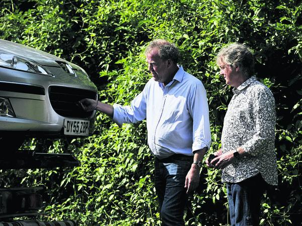 Top Gear presenters Jeremy Clarkson, left, and James May at the scene of the stage crash in Charlbury