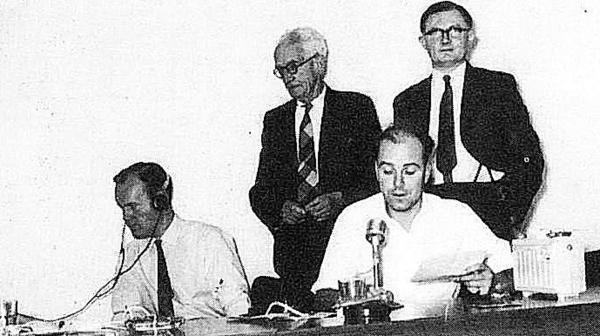 The first Radio Horton show with Ted Hanson, seated left, at the controls, with Graham Wilton, seated right, reading the news