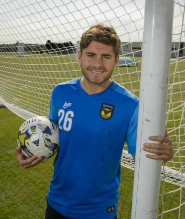 Joe Riley at Oxford United's Roman Way training ground yesterday after signing on a six-month loan deal from Bolton Wanderers