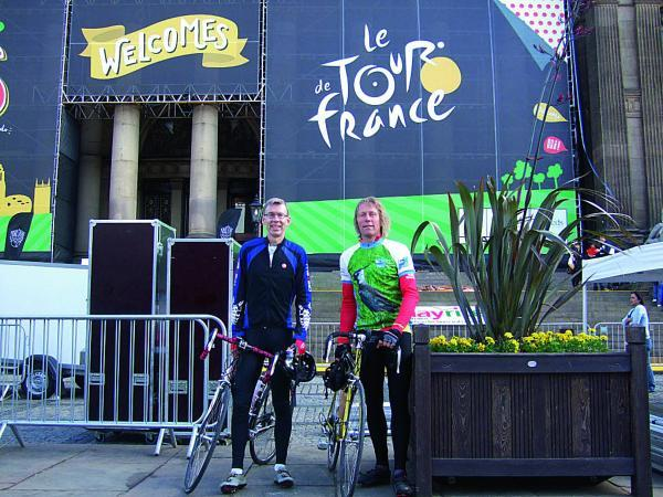 Martin Bate, left, from Witney and his brother-in-law Peter Lemmey, from Yeovil, cycled this year's Tour de France route, beginning in Le