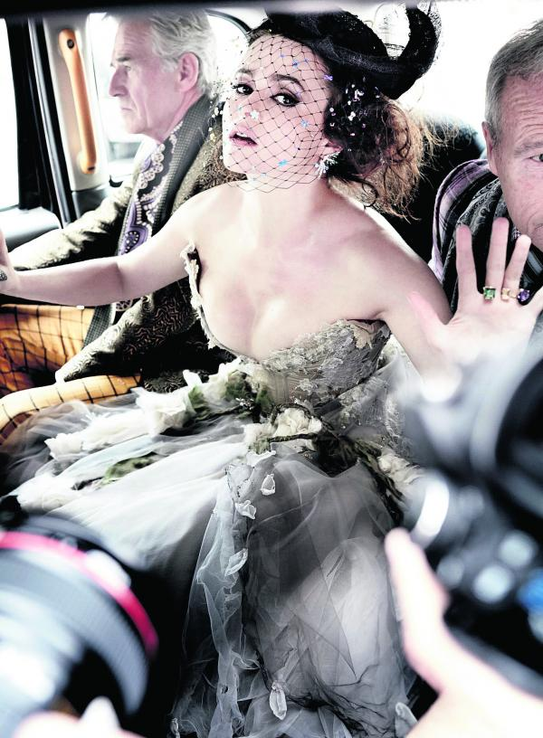 The dress worn by Helena Bonham Carter for the Vanity Fair photo taken by Mario Testino