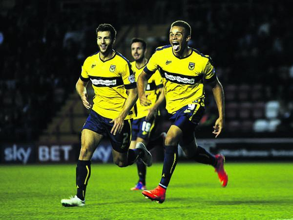 Jon Meades (left) celebrates with Carlton Morris at Bristol City  Picture: Ed Nix Order no: OX69170