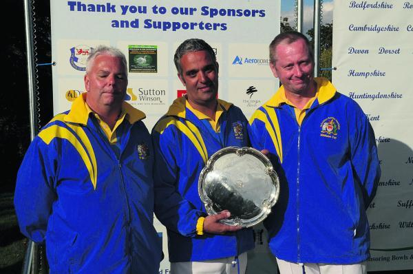 The Carterton bowls trio who lost in the final of the men's national triples championship. Pictured (from left) Paul Sharman, David Clanfield, Alan Prew