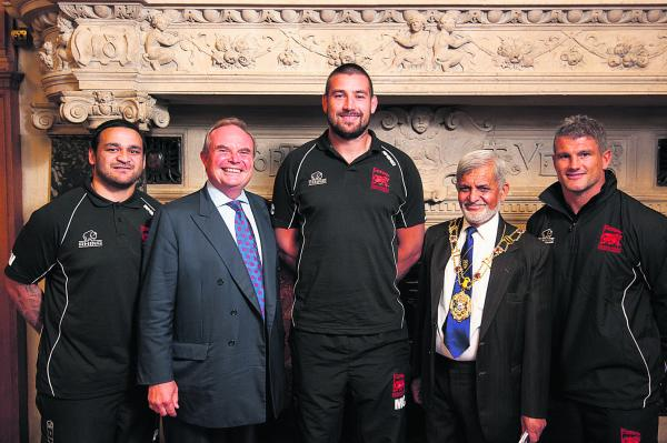 Members of the London Welsh squad at Oxford Town Hall this week. From left: Piri Weepu, Bleddyn Phillips (London Welsh chairman), Matt Corker, Mohammed Abbasi (Oxford Lord Mayor) and Tom May