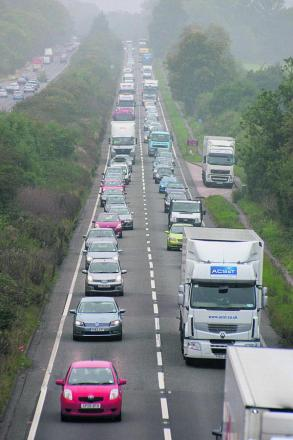Traffic queueing on the southbound A34 approaching the Botley Interchange yesterday morning