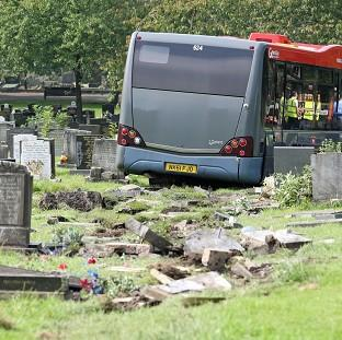 The scene at Saltwell Cemetery in Gateshead