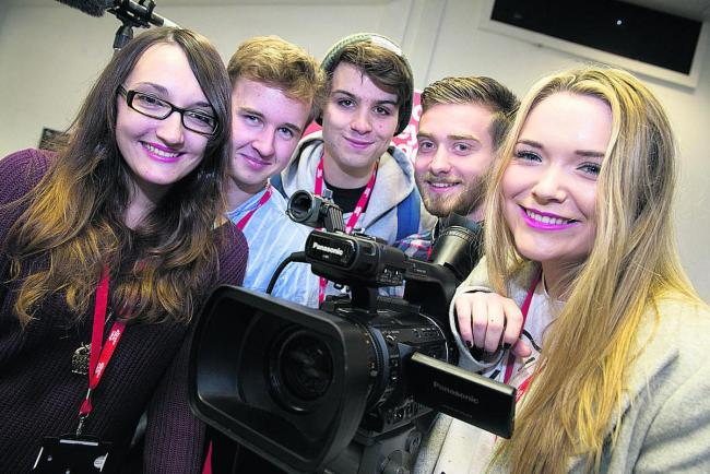From left, Witney College students Yasmin Cammish, Matt Kinahan, Will Keating, Josh Arntsen and Ruby Seldon will see short films they have produced as part of the course screened at Witney Film Festival.  Picture: OX70537 Damian Halliwell