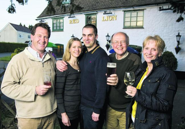 From left, Stuart Cope, Lisa Lyne and Ian Neale, Graham Shelton and Helen Hutchings at the Red Lion in Northmoor